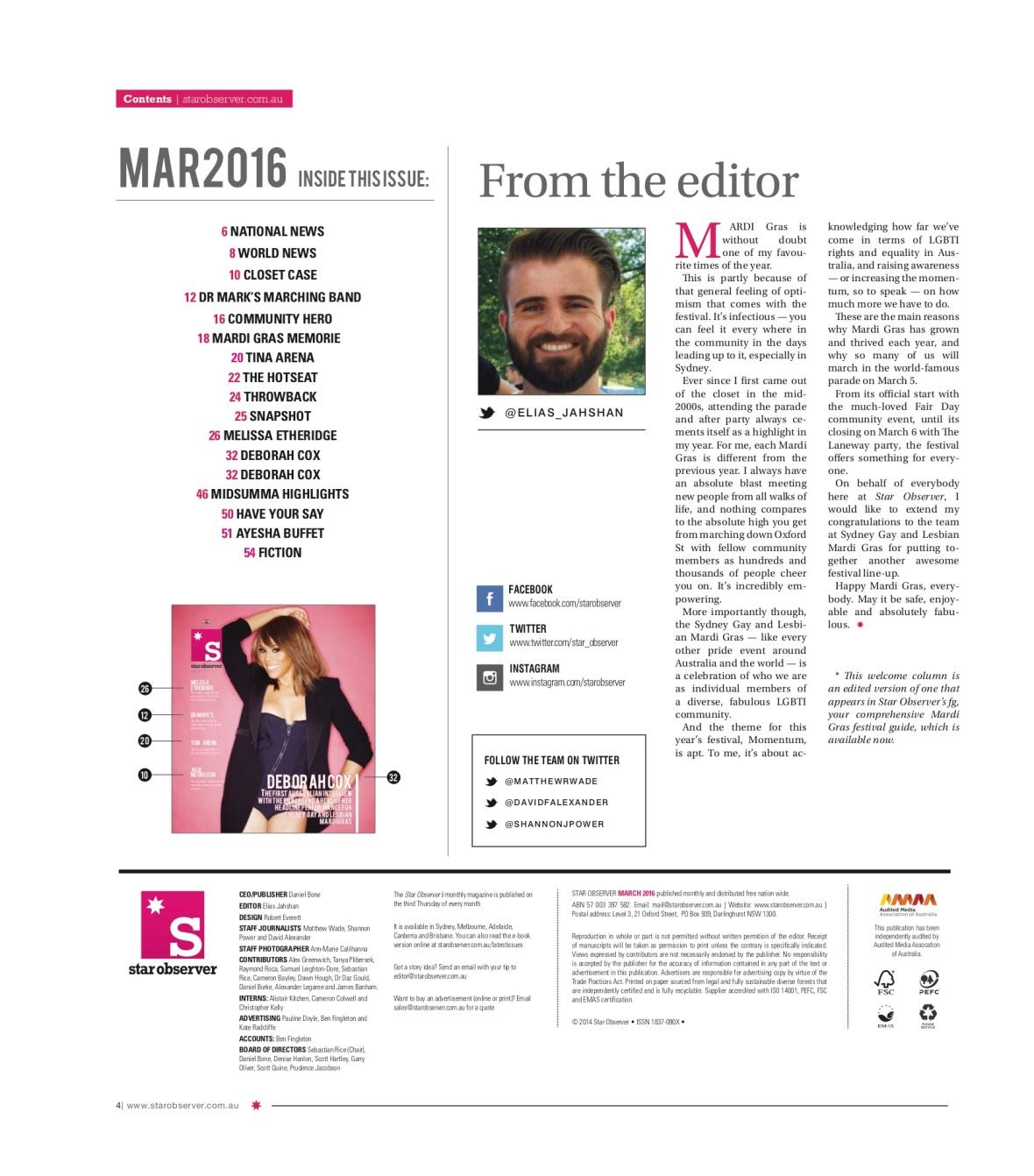 Aysha Buffet Star Observer Magazine _ March 2016 index