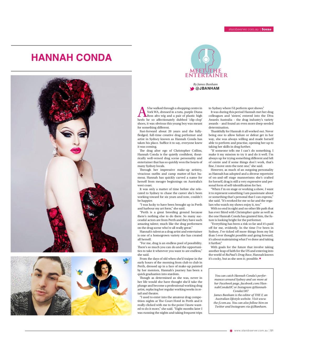 Hannah Conda Star Observer Magazine _ June 2016 story