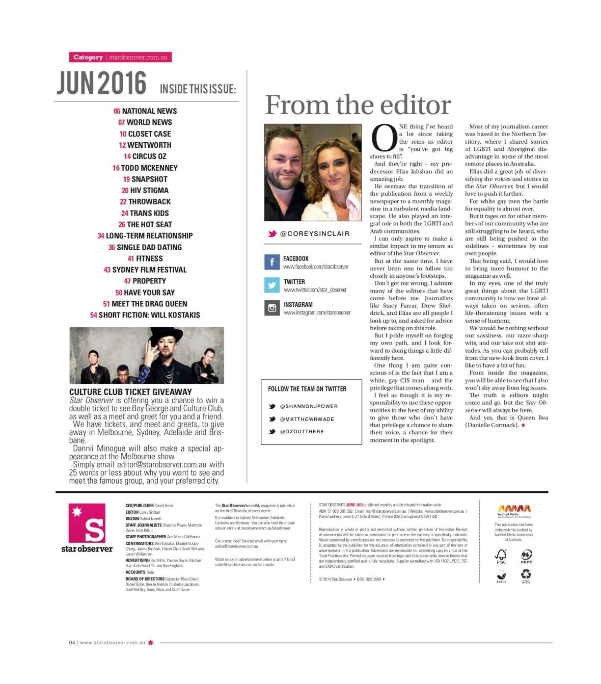 Hnnah Conda Star Observer Magazine _ June 2016 index