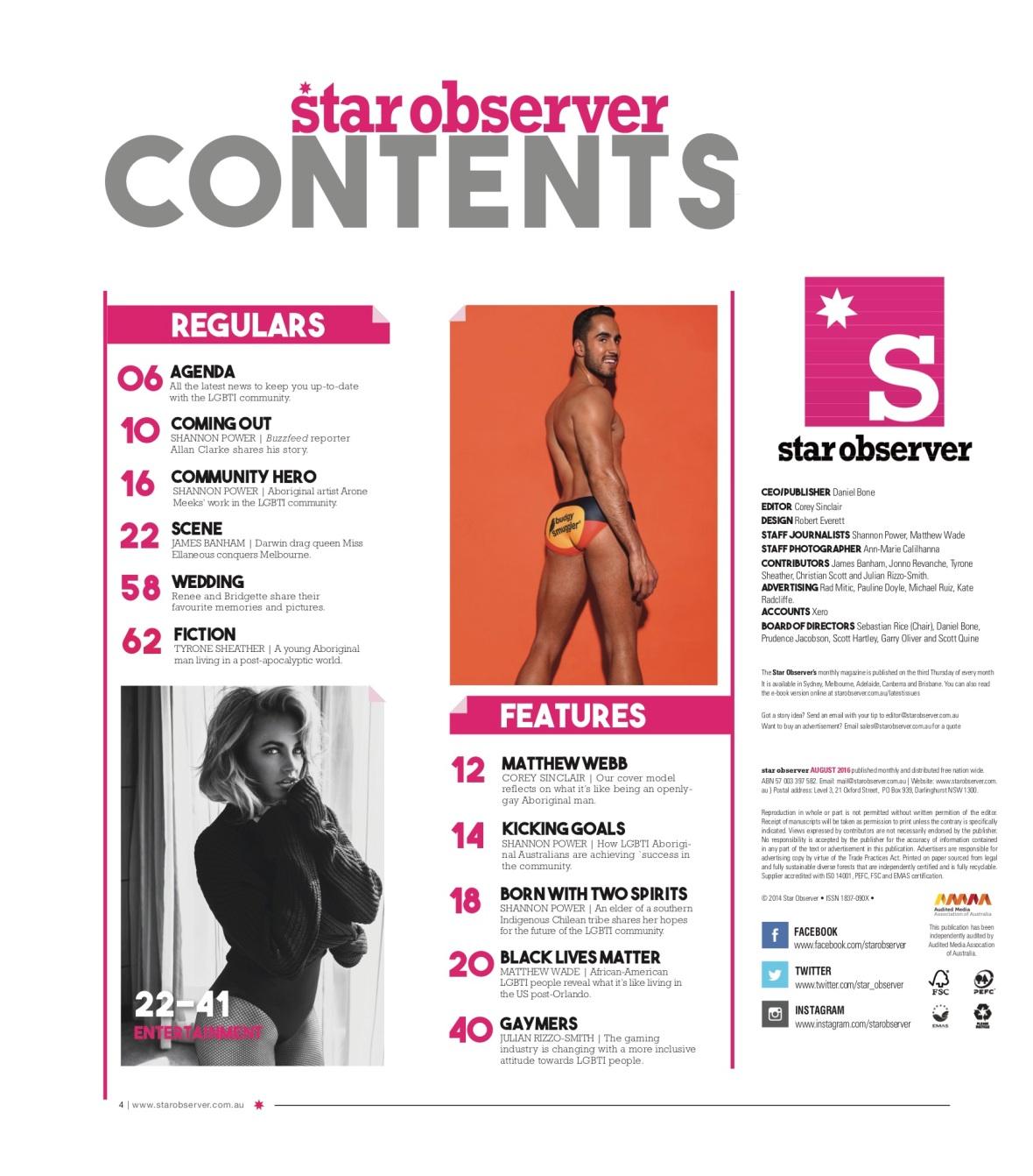 Miss Elaneous Star Observer Magazine _ August 2016 index