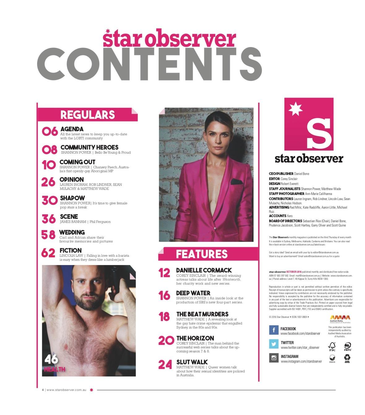 Phil knitting Star Observer Magazine _ October 2016 index