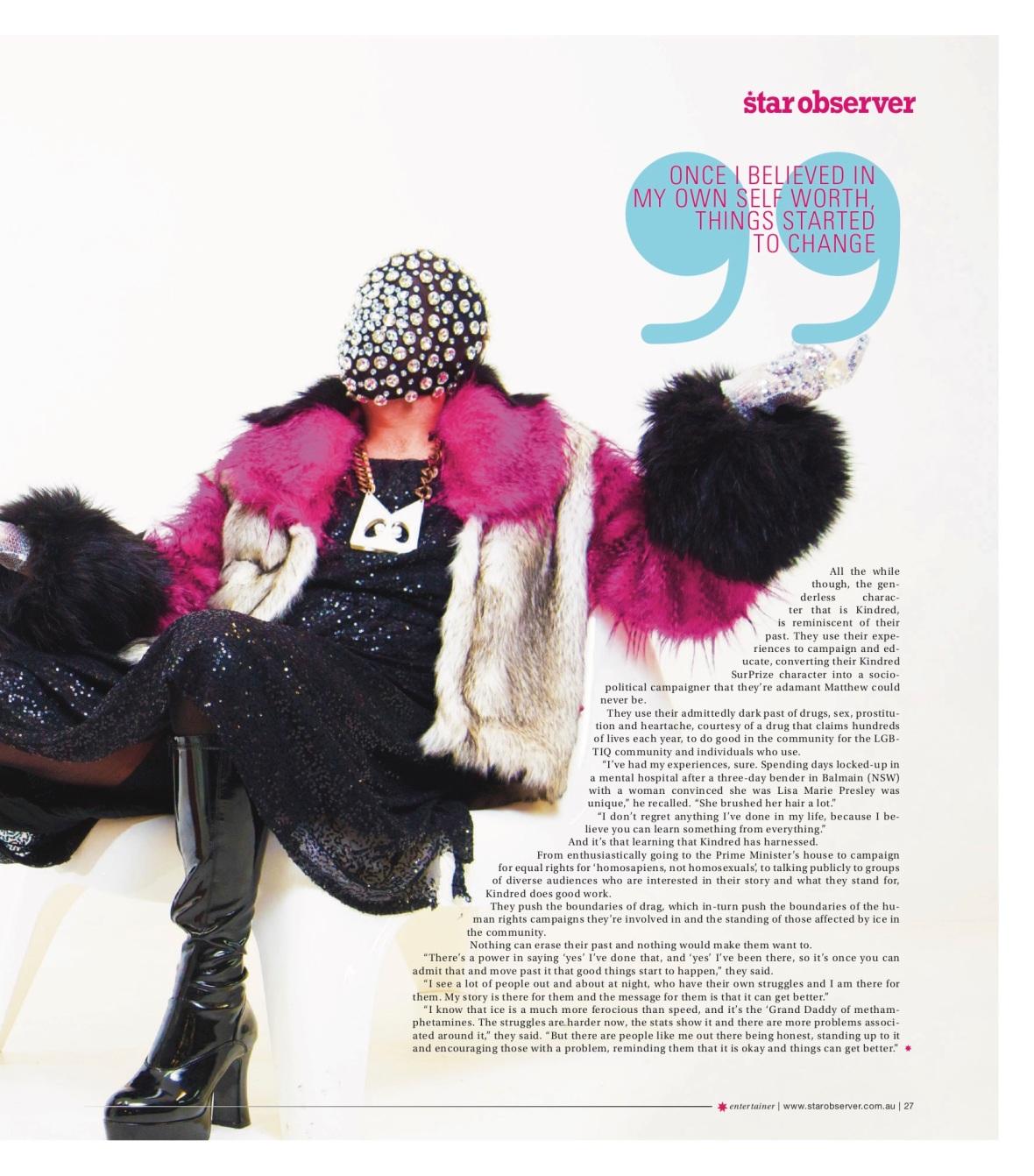 Kindred Surprize Star Observer Magazine _ November 2016 _page 2