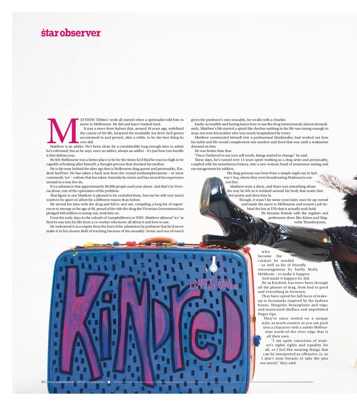 Kindred Surprize Star Observer Magazine _ November 2016_page 1