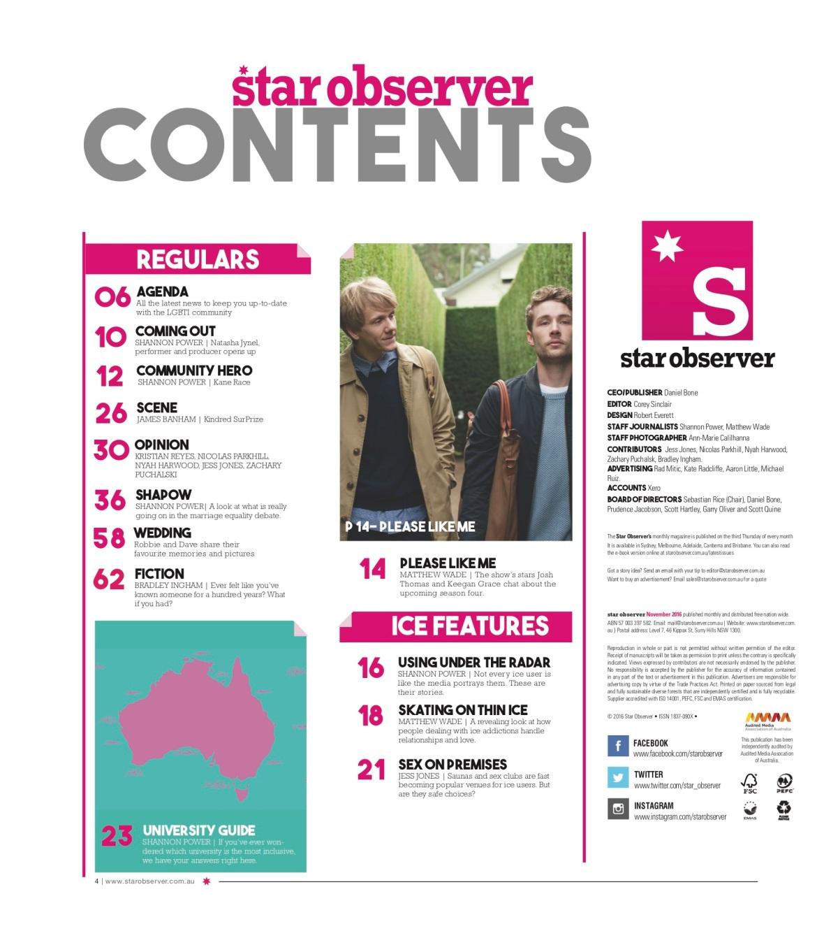 Star Observer Magazine _ November 2016 index