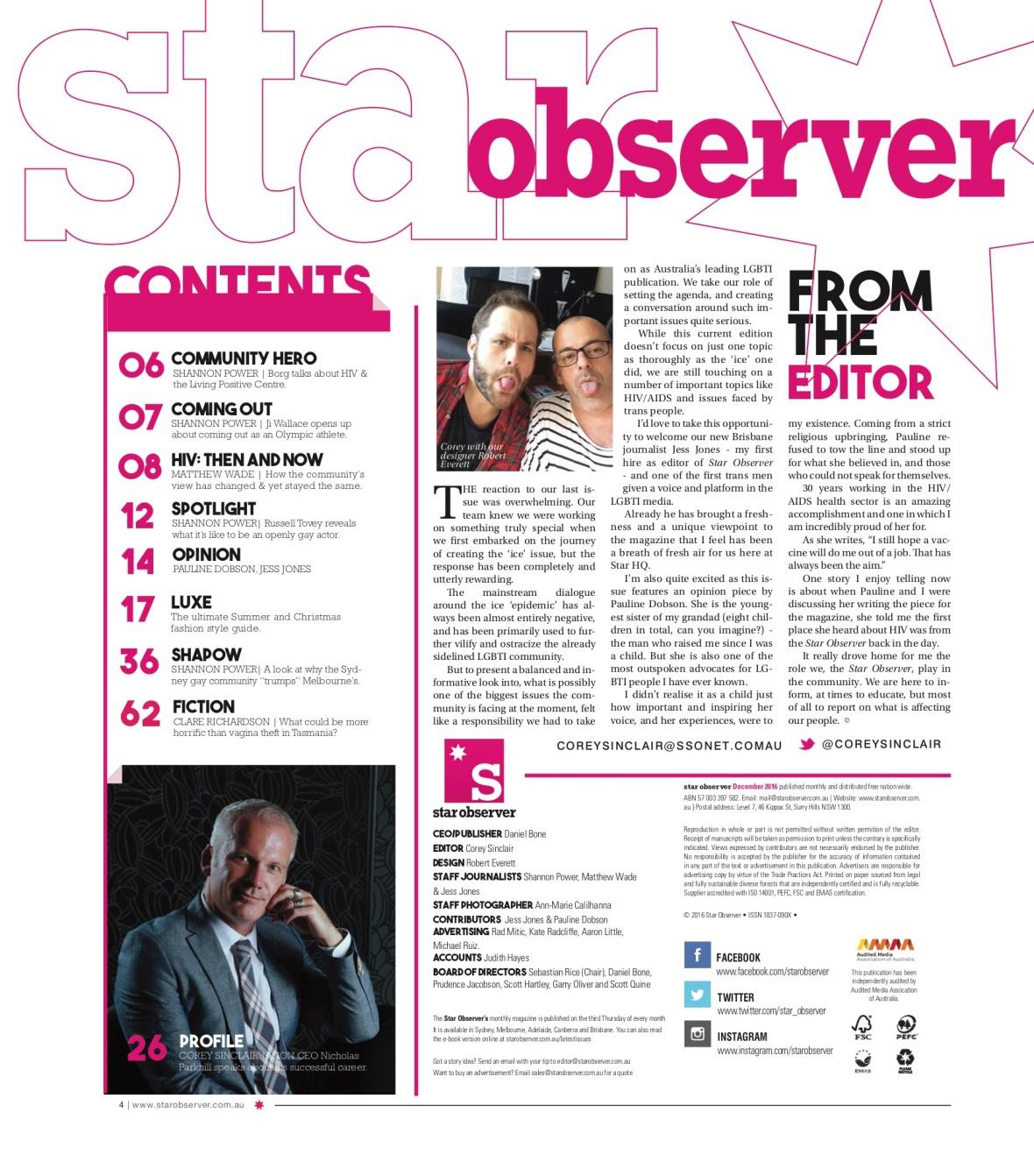 DJ Kitty Glitter Star Observer Magazine _ December 2016 index