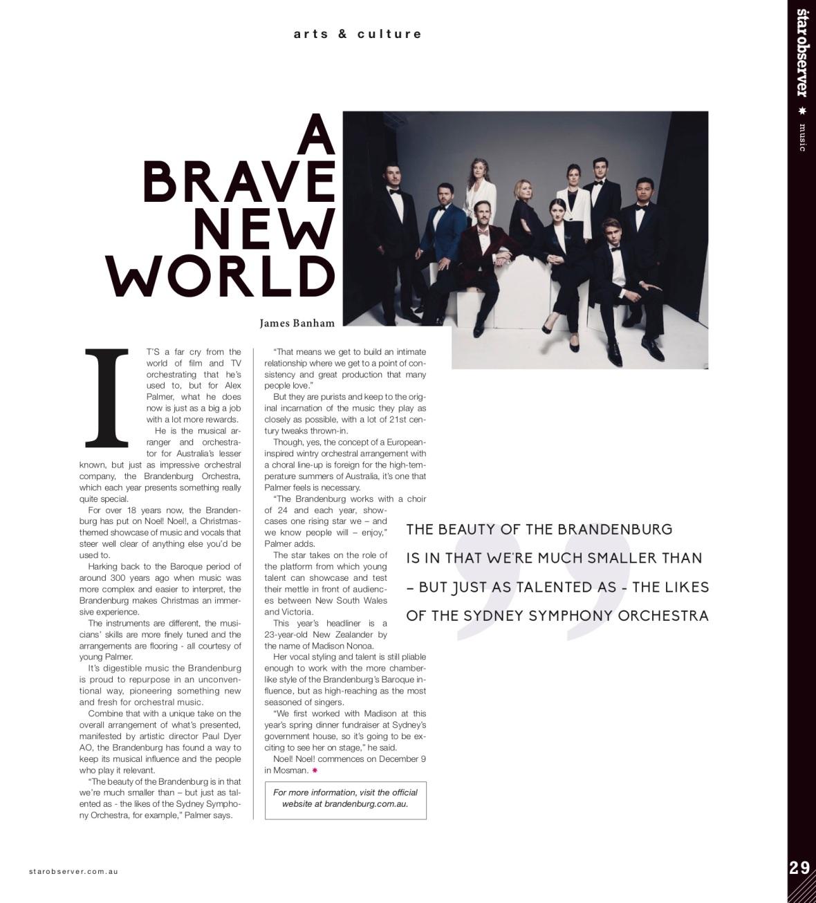 Brandenburg Orchestra Star Observer Magazine _ January 2017