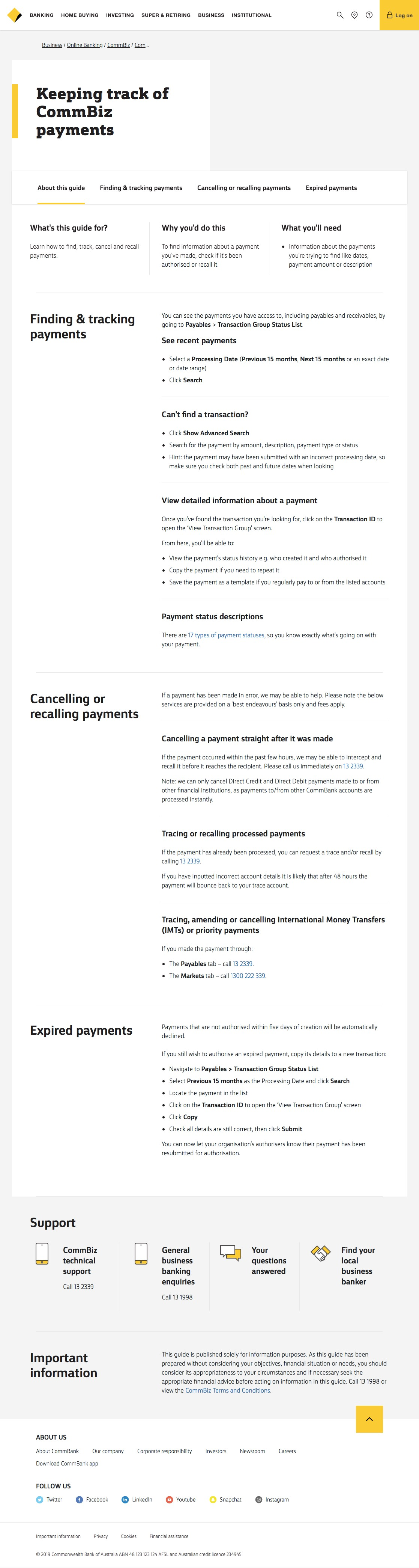 CommBank - Keeping track of payments - CommBiz user guide - CommBank