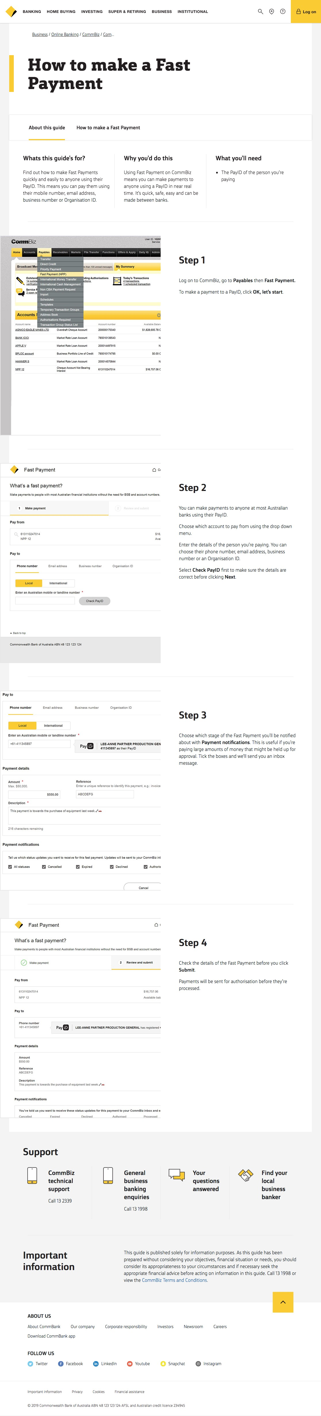 CommBiz - How to make a Fast Payment - CommBank