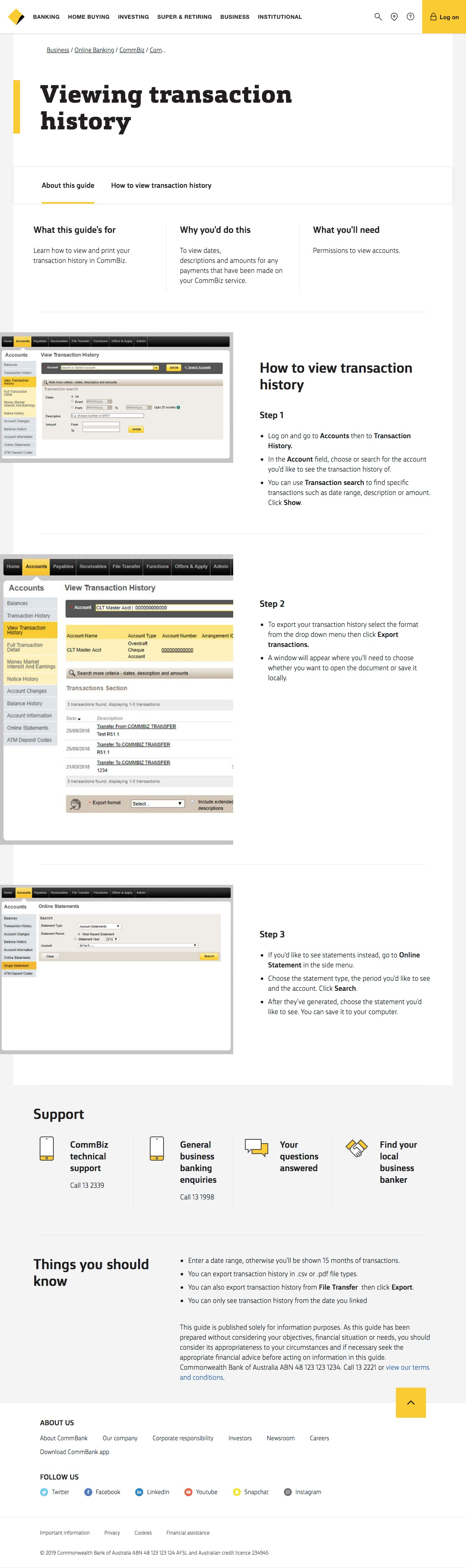 CommBiz user guides - How to view your CommBiz transaction history - CommBank